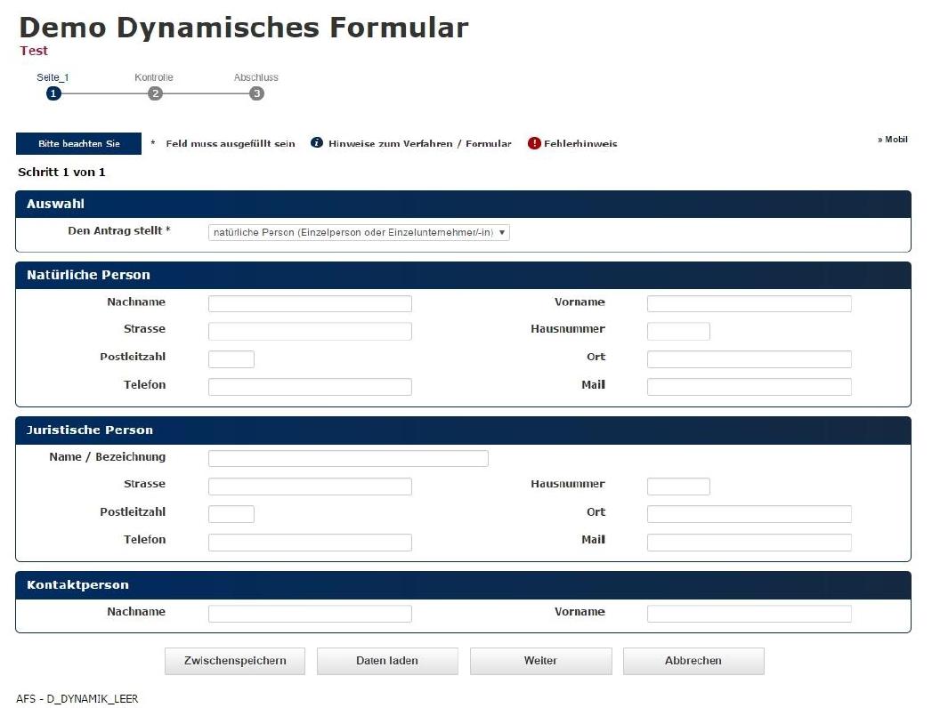 Tutorial: Dynamisches Formular erstellen - Demos - aforms2web